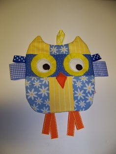 Owl Taggie toy that crinkles Handmade Infant Toy by civilwarlady, $16.95