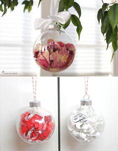 christmas ornaments with wedding keepsake