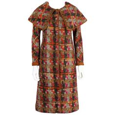 BONNIE CASHIN 1960s SILLS Multi-color Tweed Suede Long Cape Coat Size XS / S | From a collection of rare vintage coats and outerwear at https://www.1stdibs.com/fashion/clothing/coats-outerwear/