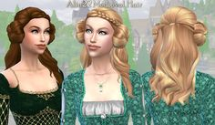 Mythical Dreams Sims 4: Medieval Long Hair with Buns & Metallic Hairnets Accessory