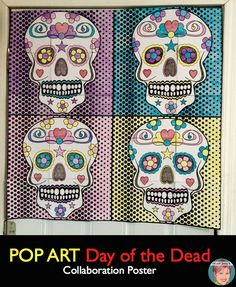 Day of the Dead coloring activity for kids. Collaboration poster makes a great door decoration for Día de los Muertos.