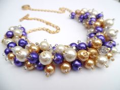 Purple Pearl Necklace Bridesmaids Gift Purple Ivory Gold Wedding Jewelry, Gold Jewelry, Unique Jewelry, Bridesmaid Gifts, Bridesmaids, Beaded Bracelets, Necklaces, Pearl Necklace, Jewelry Design