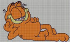 Free Cross Stitch Pattern: Garfield by ~auraya89 on deviantART