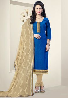Embroidered Art chanderi silk Straight Suit in Blue