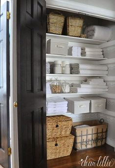 Before & After: A Dark Linen Closet Gets An Airy Makeover  - CountryLiving.com