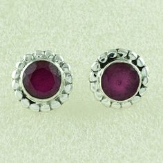 RUBY AGATE STONE QUEENLY DESIGN 925 SOLID STERLING SILVER STUDS #SilvexImagesIndiaPvtLtd #Stud