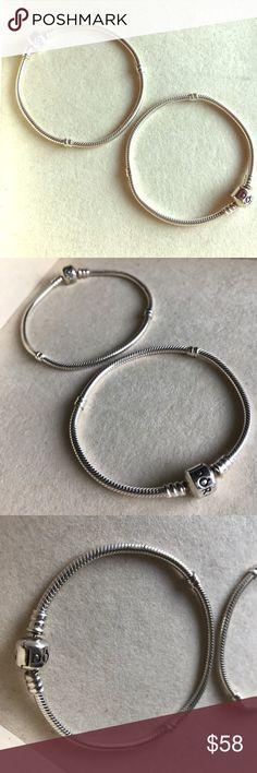 Pandora sterling silver bracelets Authentic pandora bracelets, in great condition! Price is for one bracelet. I have one 7.5 left! Pandora Jewelry Bracelets