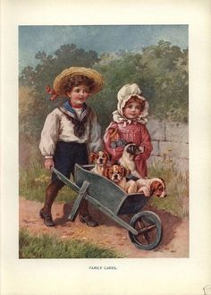 Lovely Illustrated with works of Frances Brundage, E. Andrews, Ada Leonora Bowley, May Bowley and others. Art And Illustration, Illustrations And Posters, Vintage Illustrations, Farm Art, Toy Soldiers, Wheelbarrow, Vintage Prints, Boy Or Girl, Character Design