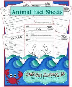 Free Ocean animal fact sheet printables