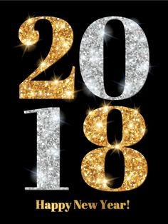 Shiny Gold & Silver Happy New Year Card 2018