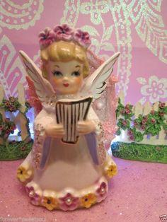 Vtg SET OF 2 Christmas Angels W Harp Book Pink Floral Tiara Halo Pearl Trim