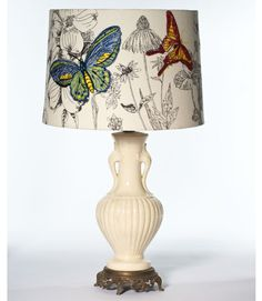 Embroidered lamp shade.. an idea for my plain ones I have right now.