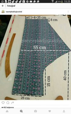 A-Line Umbrella Dress (Single Piece) : Marking and Cutting of the Inner Linin Tesettür Şalvar Modelleri 2020 Sewing Dress, Sewing Pants, Dress Sewing Patterns, Sewing Clothes, Clothing Patterns, Pattern Cutting, Pattern Making, Fashion Sewing, Diy Fashion