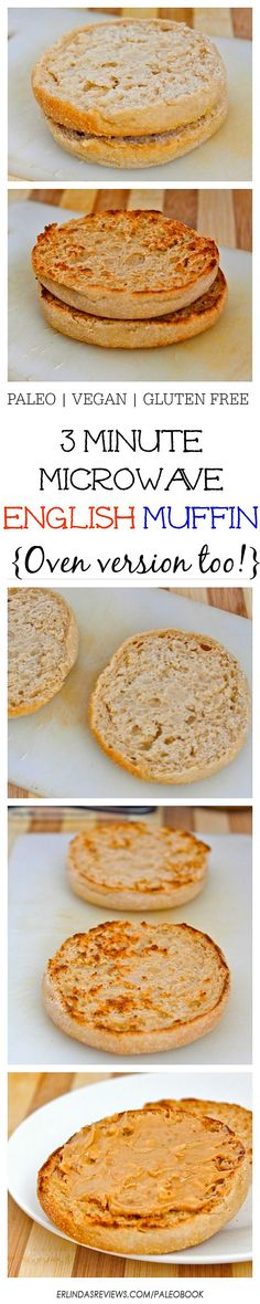 3 Minute Microwave English Muffin (Paleo, Vegan AND gluten free!)  Just THREE minutes and a simple i