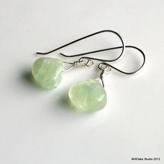 Green Prehnite and Sterling Silver Dangle by WillOaksStudio