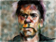 Portret van Koos geschilderd op mijn iPad #Paper