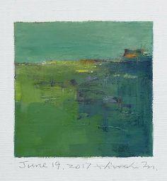 "June 19, 2017 9 cm x 9 cm (app. 4"" x 4"") oil on canvas  © 2017 Hiroshi Matsumoto"