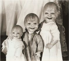 Weird and Creepy VINTAGE DOLL PHOTO of three by vintagewarehouse