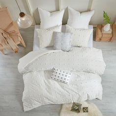 Brooklyn Shabby Chic 5 Piece Cotton Jacquard Duvet Set – English Elm Twin Xl Comforter, King Comforter, Queen Duvet, Brooklyn, Cute Bedding, Gray Bedding, Neutral Bedding, Bedroom Neutral, Bedroom Simple