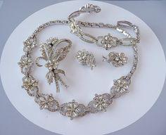 Rhinestone Flowers Necklace Earrings Brooch & by thejewelseeker, $75.00 @Gayla Esch #vjse2