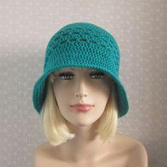 Blue Green Summer Crochet Hat  Womens by ColorMyWorldCrochet,