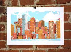 Boston- Hand-printed Art Print. $30.00, via Etsy.