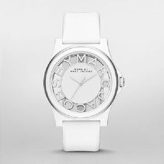 """Henry Skeleton White silicone Watch silver-tone and white """"MARC JACOBS"""" skeleton three-hand dial makes this unique stainless steel, and white silicone Henry Skeleto"""