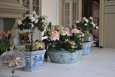 great love all the blue and white and accent with pink and white flowers
