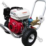 Honda GX 200-4PPX Series CAT Triplex Plunger Pump-2.5GPM-3300PSI-Portable Pressure Washer-Attachment Kit.So you have everything you need to get to work right away, a complete contractor-grade accessory kit is also included in the package with a 25 or 50-foot heavy duty hose, trigger gun, wand, chemical injector system and four color-coded quick connect spray nozzles.