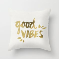 Buy Good Vibes – Gold Ink by Cat Coquillette as a high quality Throw Pillow. Worldwide shipping available at Society6.com. Just one of millions of…