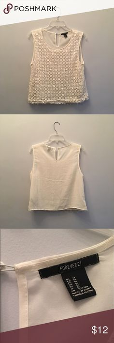 """☀️Off White Lace Cropped Tank 