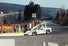 Chaparral rounds La Source at the old Spa Francorchamps during the 1960s. Where is the pits and the grandstands? Compare this photo to the scene today!
