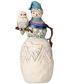 Jim Shore Snowman with Owl Collectible Figurine Pinned by www.myowlbarn.com