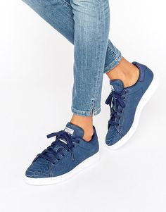 5c9ff4e7c30 adidas Originals Navy Embossed Snake Suede Stan Smith Unisex Trainers