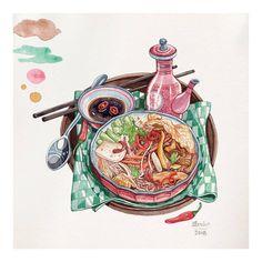 """Miến Xào Chay trong sách Nấu Ngon Ăn Lành.   =   Có cách nào để ngăn chặn những người thiếu tử tế lấy hình mình in ấn trục lợi khi không được phép hay không?   Câu trả lời là """"Có cũng như Không""""!!!!  Làm người xấu thì dễ chứ làm người tử tế mới cần phải đắn đo suy nghĩ thật nhiều!   Làm họa sĩ, ráng mà chịu!   #vietnamesefood #food #foodillustration #illustration #fooddelicious #delicious #vietnammienngon #vietnamdelicious #watercolor #watercolour #instagood #instalike #instafollow #inst"""