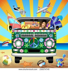 #Hippie #Groovy #Van #Traveling to the #Beach NEW #vector on #Shutterstock  http://www.shutterstock.com/en/pic-256574749/stock-vector-hippie-groovy-van-traveling-to-the-beach.html?src=&ws=1