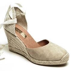 Cream Suede Lace Up Espadrilles - High Wedge