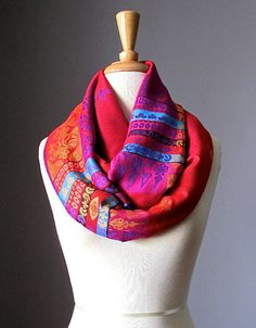 Red infinity scarf pashmina infinity scarf by ScarfObsession