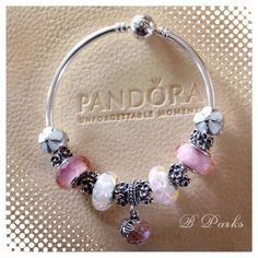 PANDORA Bangle with Lovely Floral Charms and Murano.