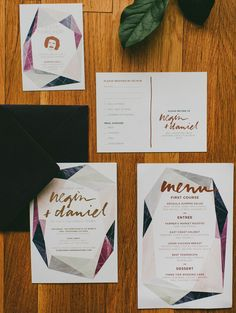 Modern Gemstone Copper Foil Wedding Invitations   And Here We Are   Oh So Beautiful Paper