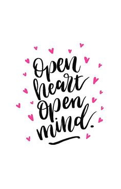 Open Heart,Open Mind design on redbubble, typographic hand lettering