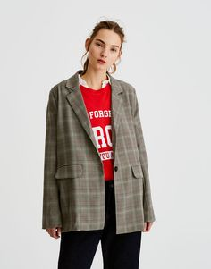 Checked blazer with lapels - Coats and jackets - Clothing - Woman -  PULL&BEAR United Kingdom