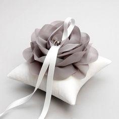 Silver gray ring pillow, wedding ring pillow, flower pillow, ring cushion - Aria