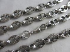 ANTIQUE-c1900-VICTORIAN-STERLING-SILVER-LONG-GUARD-CHAIN-LINK-NECKLACE-178-0-CM