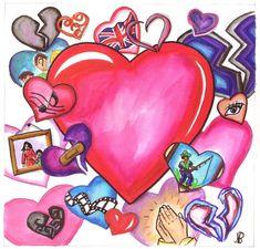 L'amour sous toutes ses formes, amitié, famille, pour des passions, croyances Les Oeuvres, Illustrations, Love, Paint, Illustration, Illustrators