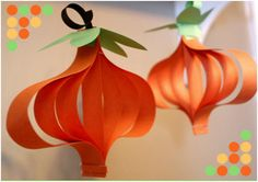 Decorate your classroom for fall with these paper pumpkin lanterns. http://blog.thecelebrationshoppe.com/tag/diy-paper-pumpkin-craft-for-kids/