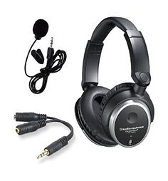 AudioTechnica ATHANC7B QuietPoint Active NoiseCancelling ClosedBack Wired Headphones bundled with the Inline Mic and EarphoneHeadphone Splitter >>> Click image to review more details.