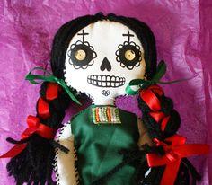 VIVA MEXICO DEAD GIRL Day of the Dead Rag Doll by ArtByLupeFlores