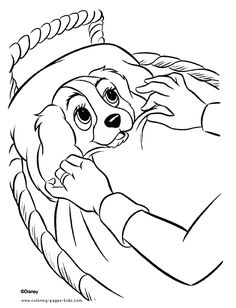 lady christmas gift coloring page | Disney Lady and the Tramp ...