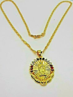 18 k Gold Plated Crystal Diamond Virgin Mary Prayer Necklace w/ 3 Stones #ChristianHouse #Pendant